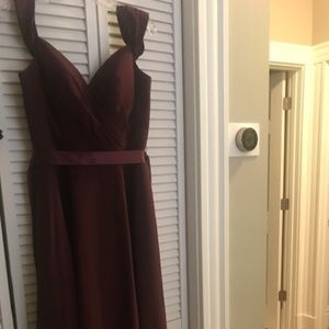 Burgundy Off-the-Shoulder Ashley & Justin Gown